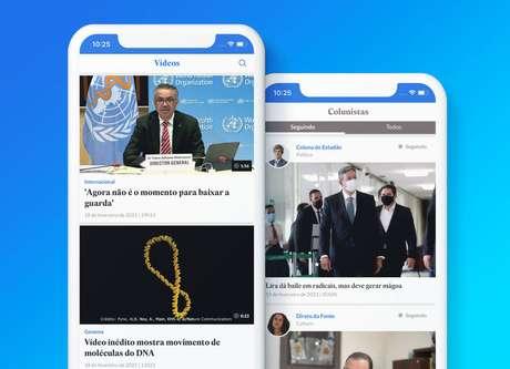 Áreas de vídeos e de colunistas no aplicativo do Estadão