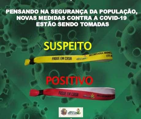 A Prefeitura de Paulo de Faria divulgou em redes sociais a obrigatoriedade das pulserinhas para suspeitos e portadores do coronavírus