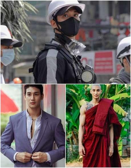 Acima, Paing Takhon flagrado em protesto contra o golpe militar em seu País; abaixo, em trabalhos como modelo internacional