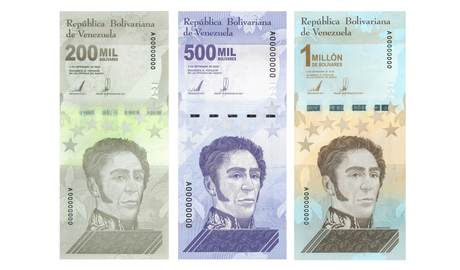 Três novas cédulas apresentadas pelo Banco Central da Venezuela somam apenas US$ 1