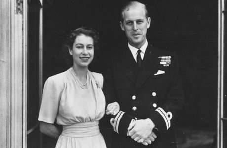 Princess Elizabeth and her husband-to-be outside Buckingham Palace in 1947, after announcing their engagement