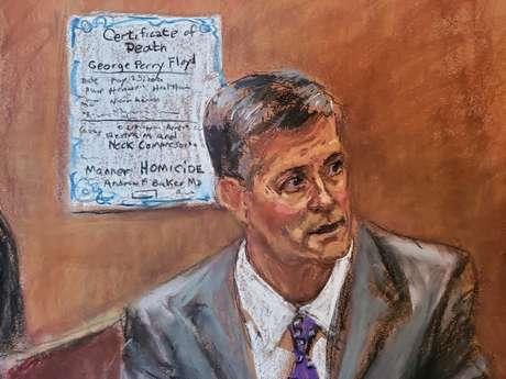 Croqui do legista dr. Andrew Baker em depoimento durante julgamento de Derek Chauvin pela morte de George Floyd  09/04/2021 REUTERS/Jane Rosenberg
