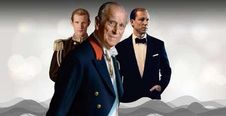O príncipe Philip, duque de Edimburgo, entre os atores Matt Smith e Tobias Menzies, que o interpretaram em diferentes temporadas de 'The Crown'