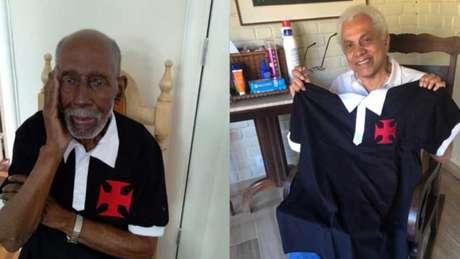 Nelson Sargento e Paulinho da Viola recebem o kit em homenagem a Resposta Histórica (Divulgação/Vasco)