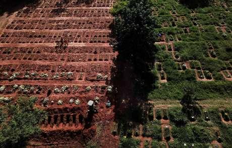 Vista aérea do cemitério da Vila Nova Cachoeirinha, em São Paulo (SP), em meio à pandemia de coronavírus  01/04/2021 REUTERS/Amanda Perobelli