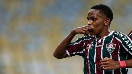 Kayky comemorando o gol contra o Nova Iguaçu. Foto: Lucas Merçon/Fluminense FC