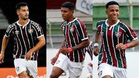 Martinelli, John Kennedy e Kayky são destaques entre os jovens utilizados pelo Fluminense. Montagem LANCE!