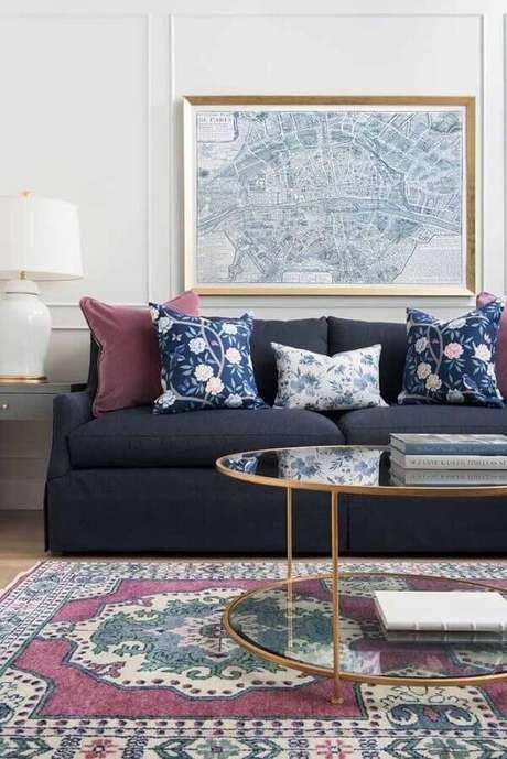 68. Modelos de tapetes para decoração de sala simples – Foto: Pinterest