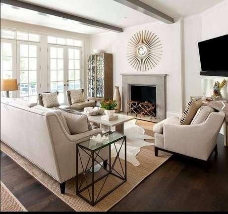 60. Modelos de tapetes para sala de estar decorada em cores neutras – Foto: Pinterest
