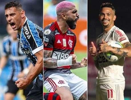 Briga pela artilharia promete (Lucas Uebel/Grêmio, Alexandre Vidal/Flamengo e Divulgação/São Paulo)
