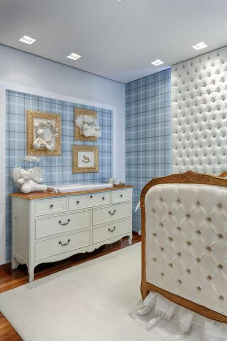 56. Quarto de bebe retro branco e azul – Foto Pinterest