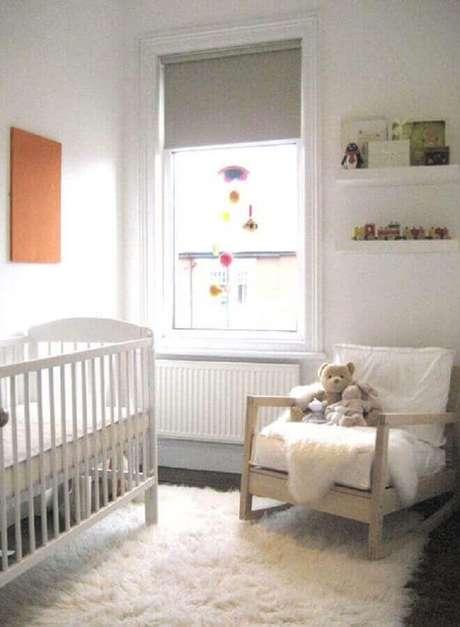 29. Modelo de tapete felpudo para decoração de quarto de bebê simples – Foto: Pinterest