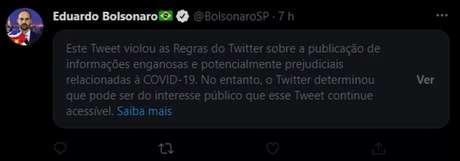 Twitter alertou para 'informações enganosas' em post de Eduardo Bolsonaro