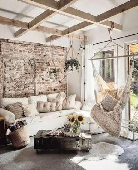 45. Se inspire nessa decoração com rede cadeira de teto. Fonte: Pinterest