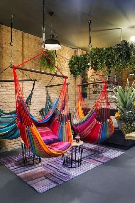 8. Crie um ambiente descontraído e divertido com cadeira tipo rede. Fonte: Pinterest