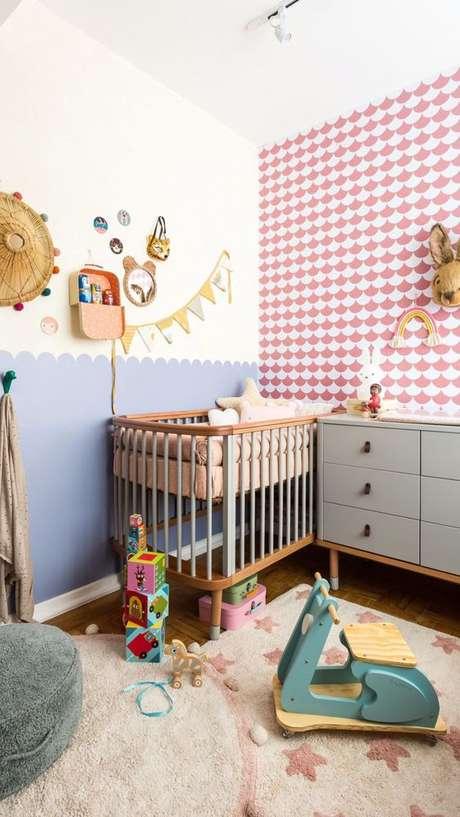 35. Quarto de bebê retro rosa e azul – Foto Mimoo Toys