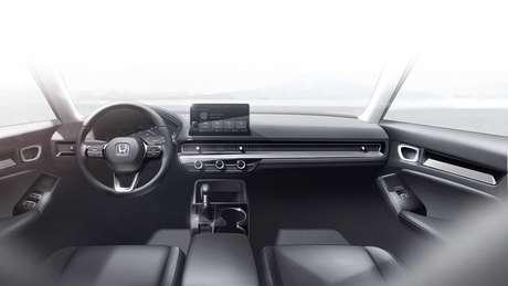 Interior do novo Honda Civic terá linhas minimalistas e central multimídia de aspecto flutuante.