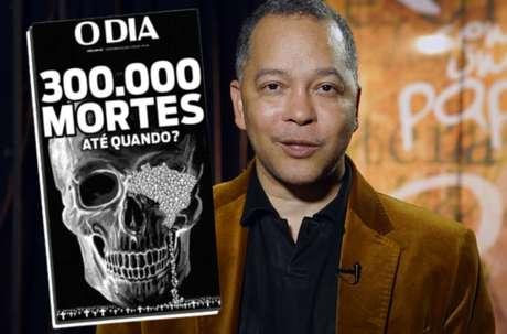 O jornalista Aloy Jupiara e a impactante capa de 'O Dia', uma das últimas supervisionadas por ele antes de ser internado com covid-19