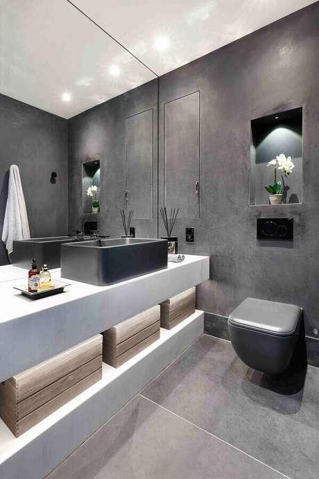 4. Lavabo moderno decorado com revestimento cerâmico cinza – Foto: Houz/
