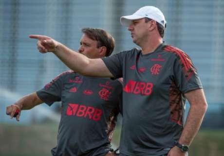 Mauricinho e Ceni no Ninho (Foto: Alexandre Vidal/Flamengo)