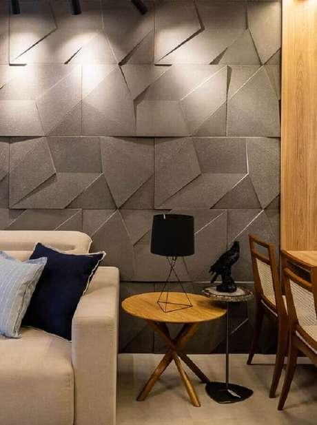 35. Decoração de sala de estar moderna com revestimento 3D cinza – Foto: Castelatto Pisos e Revestimentos