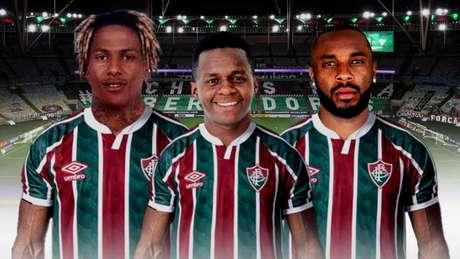 Abel Hernández, Cazares e Manoel são reforços do Fluminense para a temporada (Arte LANCE!)