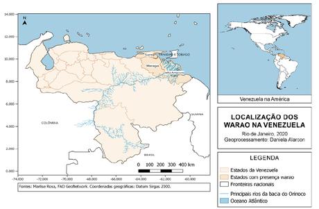 Localização dos territórios warao na Venezuela