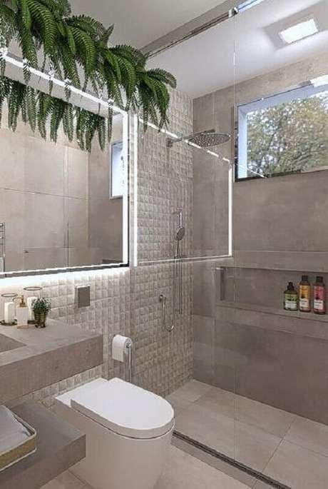 16. Decoração de banheiro moderno com revestimento cinza claro -Foto: Archtrends