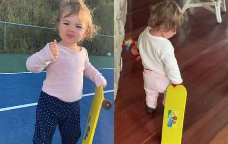 Clara Maria brincando com seu skate