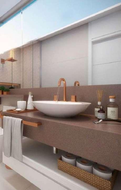 12. Bancada de granito marrom para banheiro – Foto Revista VD