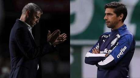 Crespo e Abel Ferreira jpa se encontraram como jogadores pela Champiosn League (Foto: Montagem LANCE!)
