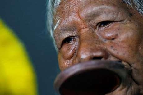 Cacique Raoni Metuktire, liderança indígena kayapó  18/02/2020 REUTERS/Adriano Machado