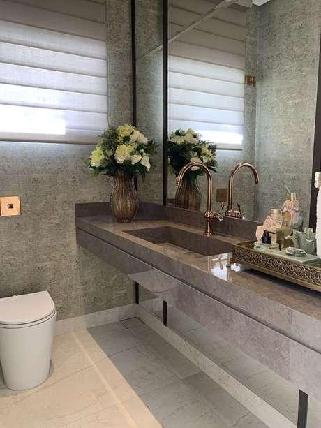 26. Bancada de granito para banheiro marrom – Foto Archtrends Portobello