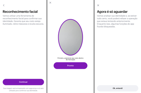 Reconhecimento facial no app do Nubank