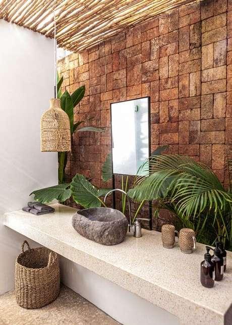 13. Bancada de granito bege para decoração rustica – Foto Casa de Irene