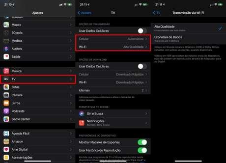 Configurações do app Apple TV no iPhone