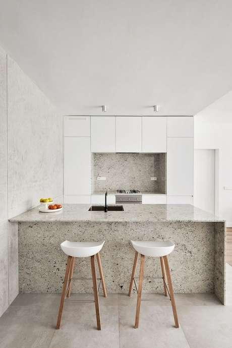 19. Bancada de granito branco para cozinha moderna Foto Futurist Architecture