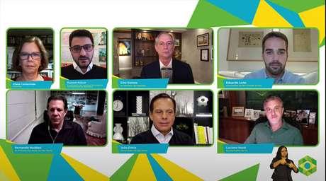 Ciro Gomes, Eduardo Leite, Fernando Haddad, João Doria e Luciano Huck, durante painel da Brazil Conference mediado por Eliane Cantanhêde e Hussein Kalout