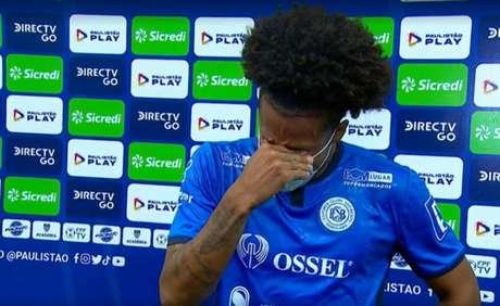 Gabriel se emocionou ao marcar contra o Corinthians e lembrar do falecido pai (Reprodução/Sportv0