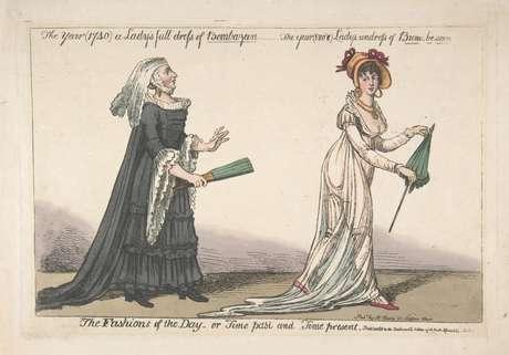 Gravura satírica do século 19, mostrando traje tradicional e um vestido de musselina
