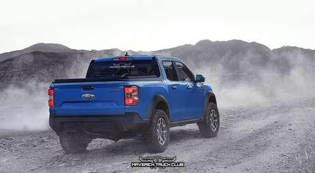 Ford Maverick terá suspensão independente. Versão Raptor teria caixas de rodas alargadas com proteção de plástico.