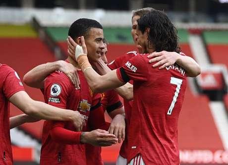 Greenwood comemora vitória do Manchester com Cavani