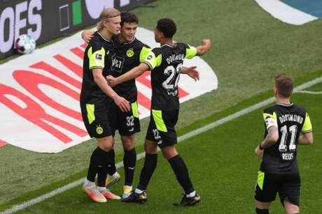 Haaland marcou duas vezes (Foto: FRIEDEMANN VOGEL / POOL / AFP)