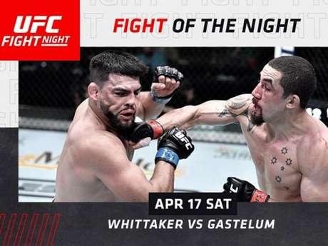 Robert Whittaker e Kelvin Gastelum fizeram a 'Luta da Noite' no UFC Vegas 24 (Foto: Reprodução/UFC)