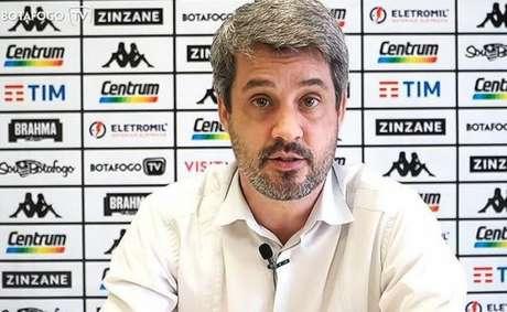 'Falamos desde o início que o trabalho era de médio e longo prazo, mas o Botafogo exige resultados' , disse Eduardo Freeland, em vídeo divulgado pela Botafogo TV (Vitor Silva/Botafogo)