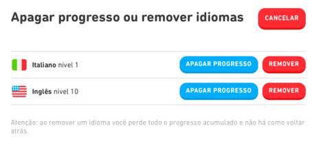 Como reiniciar o Duolingo
