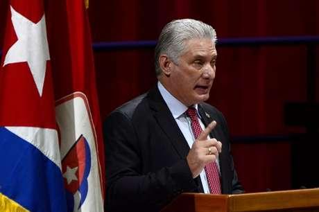 Presidente de Cuba, Díaz-Canel, faz discurso  19/4/2021   Ariel Ley Royero/ACN via REUTERS