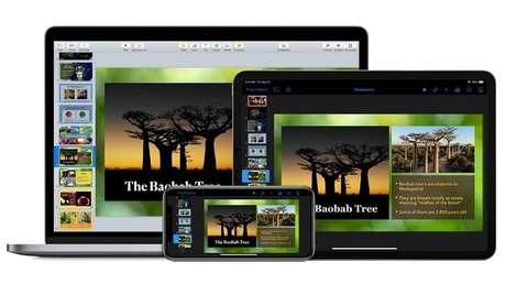 Graças ao iCloud, uma apresentação do Keynote pode ser acessada em diversos aparelhos Apple