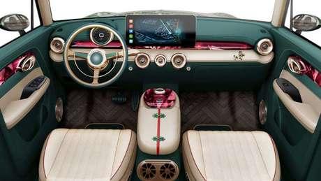 Interior do Ora Punk Cat traz o volante o quadro de instrumentos igual ao do Fusca.