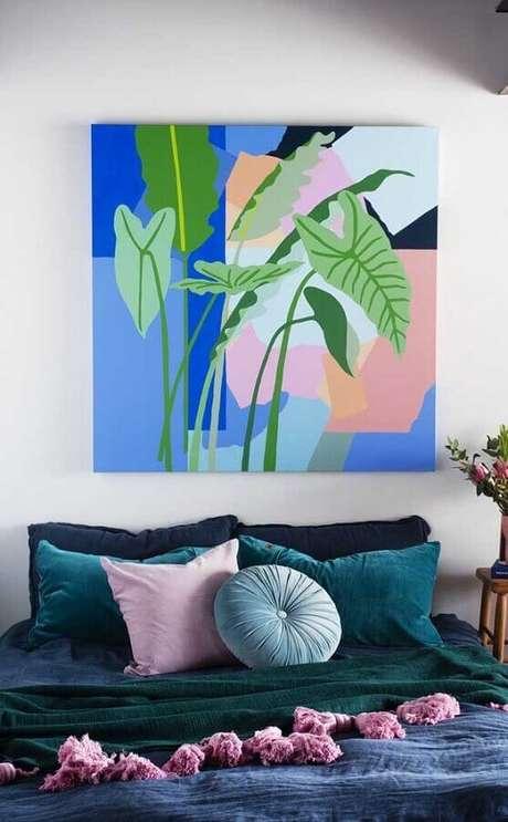59. Quadro colorido para decoração de quarto de mulher – Foto: Home Fashion Trend